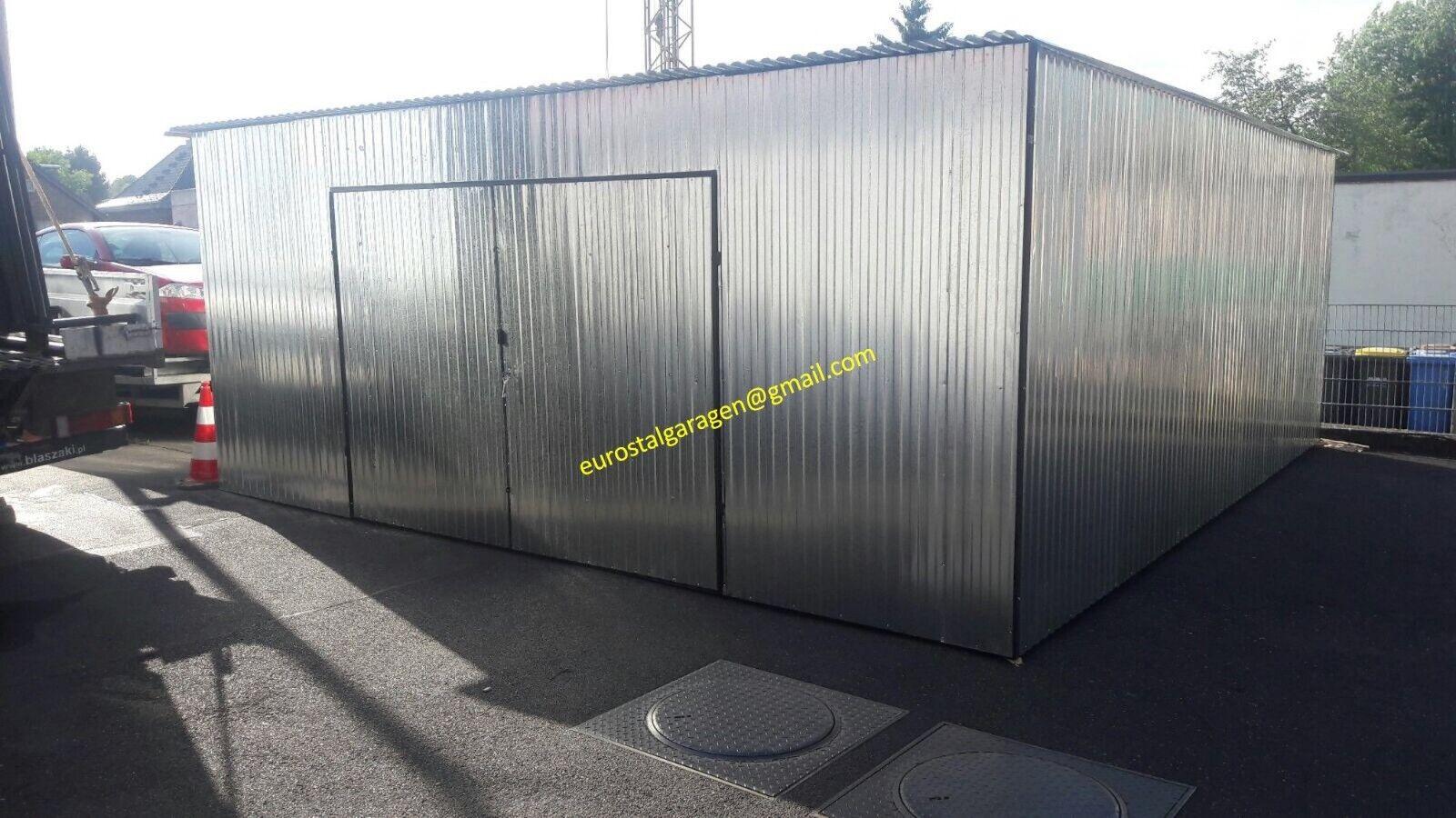 Blechgarage 6x6x2,5 Blechhalle Blechgaragen Schuppe 4Kantprofil verzinkt +Aufbau