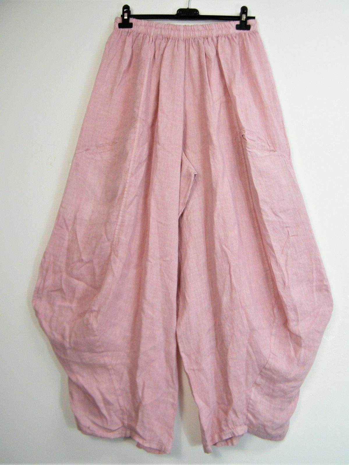 New Plus Size One Size Lagenlook Baggy 100% Linen Italian Trousers 8 Colours