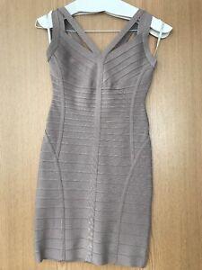 fb53a8c849cb Image is loading Genuine-Herve-Leger-Bandage-Dress-Size-XS-Natural-