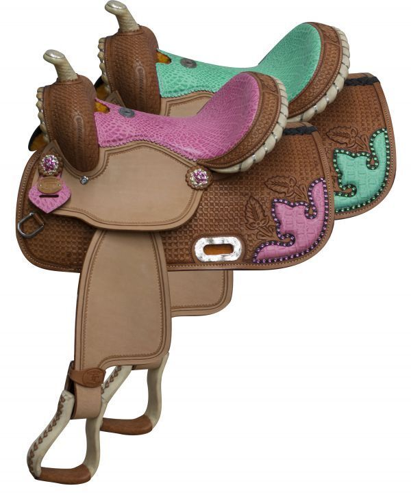Double Seat Accents & Print Alligator Leather Tooled SADDLE