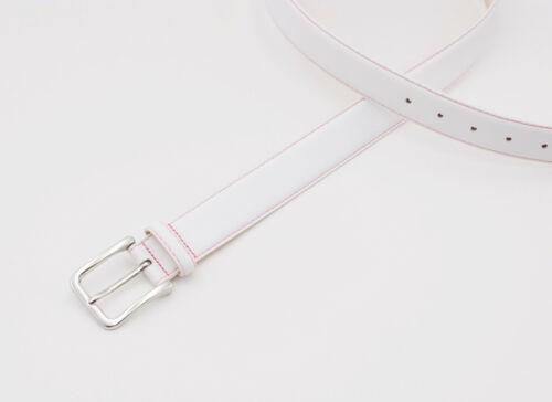 Damen Herren Gürtel weiß Jeans Echt Leder Gurt Ledergürtel Jeansgürtel Neon Neu!