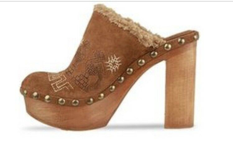 Jeffrey Campbell Faux 8 Rare EmbroideROT Suede Leder Shearling Faux Campbell Fur Wooden Clog 7b4d42