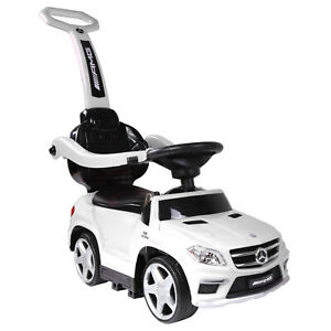 Best Ride On Cars Toddler 4-in-1 Mercedes Push Car Stroller w/ LED Lights, White