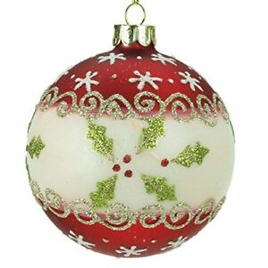 Traditional-Red-Glass-Christmas-Tree-Bauble-with-Holly-Pattern-8cm