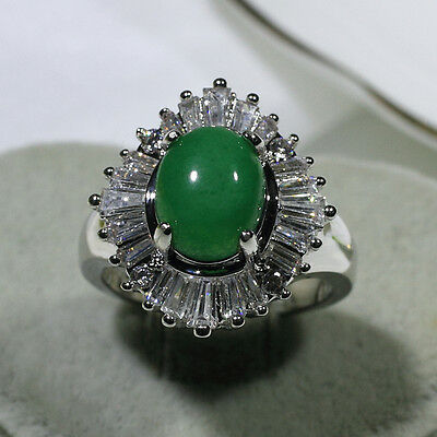 18K White Gold Filled Jade Clear CZ Women Vintage Jewelry Band Ring R2955 Sz5-10