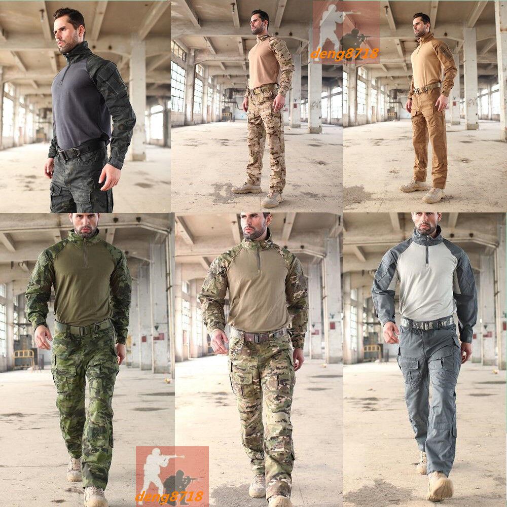 Mens Airsoft Military Tactical Shirt Pants Sets Forces Combat BDU Uniform SWAT