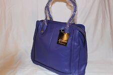 B. Makowsky Glove Leather ZipTop Magazine Tote Handbag Purse - Royal Blue