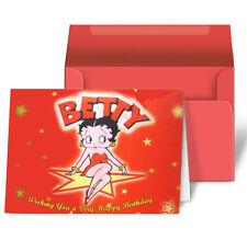 Betty Boop Happy Birthday Star Red Kick Greeting Card Lenticular 3D #BB-203-HB#