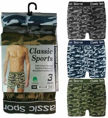 3 Mens Classic Underwear Sports Cotton Boxer Shorts Trunks Army Camouflage S-2xl