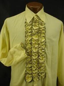 90s vintage ruffled tuxedo collar dress