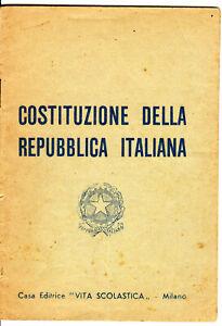 Costituzione Repubblica Italiana per Scuole Popolari con giornale-Anni 50s-60s