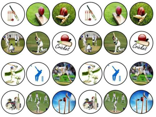24 Cricket Bowling batsman Bollo Hada Cupcake Topper Cumpleaños Fiesta Comestibles De Papel
