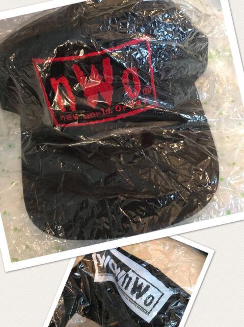 New vtg 90's nWo WCW LABEL Black RED Embro Logo Snapback Cap Hat Sealed Wolfpac