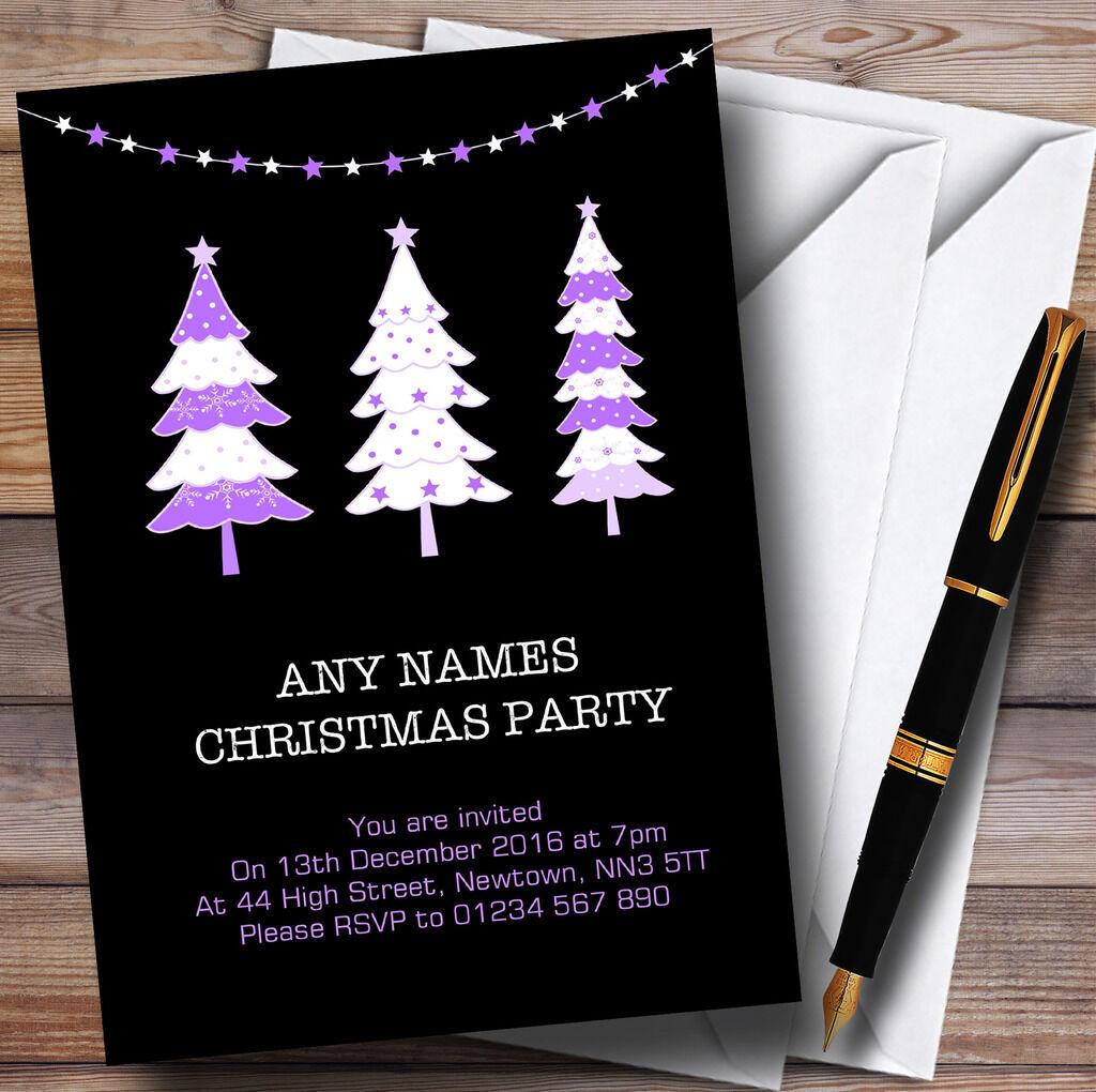 Noël arbres personnalisé noir & violet personnalisé arbres noël party invitations 1eb542