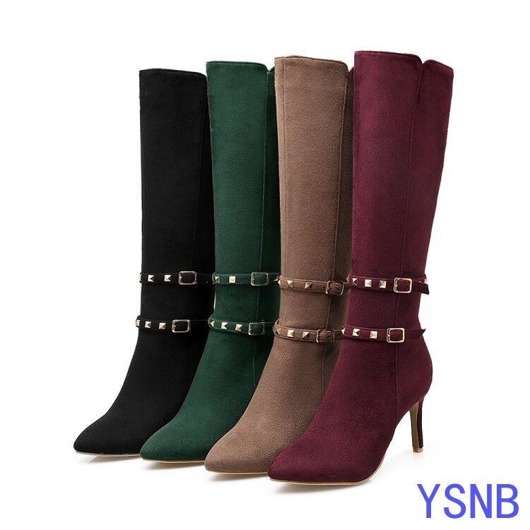 Women's Pointed Toe Stiletto High Heel shoes Rivet Buckle Zipper Knee High Boots