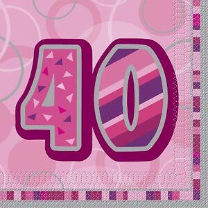 16-x-PINK-GLITZ-AGE-40-NAPKINS-33cm-3ply-PARTY-TABLEWARE-40TH-LADIES-BIRTHDAY
