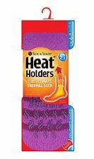 Ladies Striped Heat Holder Slipper Socks Violet 4-8 uk,37-42 eu, 5-9 US