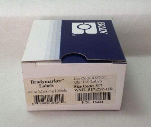 Wire Making Labels 100 Orange NEW 16424 Brady WML-517-292-OR
