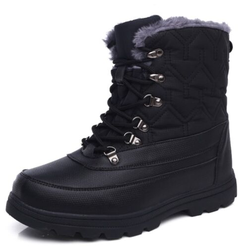Women Mid-calf Winter Warm Ankle Snow Boot Lace Up Fleece Lined Waterproof Shoes