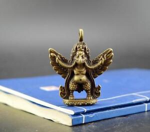 Chinese-antique-pure-brass-lucky-Garuda-Dhwaja-small-Exquisite-pendant