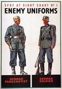 WB12-Vintage-WW2-Spot-German-Enemy-Uniforms-British-WWII-War-Poster-A4