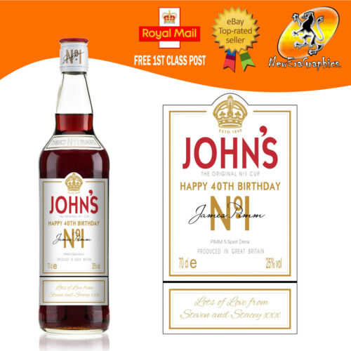 PERSONALISED PIMMS REPLICA SPOOF BOTTLE LABEL BIRTHDAY ANY OCCASION GIFT