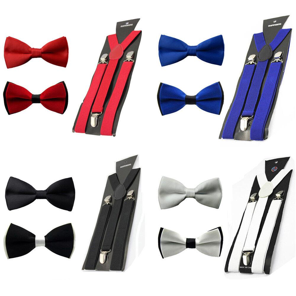Men Pre-tied Tuxedo Bowtie Bow Tie Elastic Y-Back Clip On Suspender Brace Set