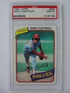 1980-Topps-PHILADELPHIA-PHILLIES-692-RAWLY-EASTWICK-PSA-9-Mint-Baseball-Card