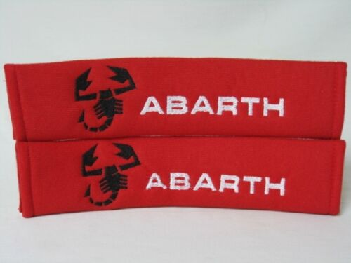 Embroidery white word Abarth Soft Seat Belt Cover Harness Shoulder Pads Pair