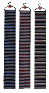 Extra Long Stripy Scarf From Duke.Colour:Charcoal Melange//Black//Royal Blue.
