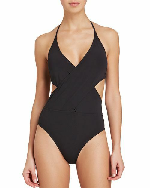 bbb6b09248 Tory Burch Swimwear 6616 Womens Black Solid Wrap One-piece Swimsuit Size  Large for sale online | eBay