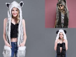 e0fb86f629e02 Plush Faux Fur Womens Mens Animal Winter Warm Hat with Long Mittens ...