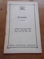 Vtg BBC Programme ARMIDA by GLUCK Libretto of the Opera Broadcast April 1928