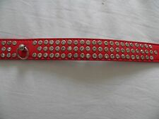 Brand New With Tag Red Faux Leather Large Jeweled Dog Collar crystal effect