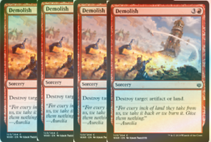 War of the Spark Red Common NM 4x FOIL Demolish