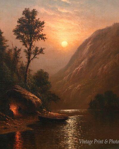 Moonlit Shore by C H Gifford Art Camp Fire Lake Boat Night 8x10 Print 0271