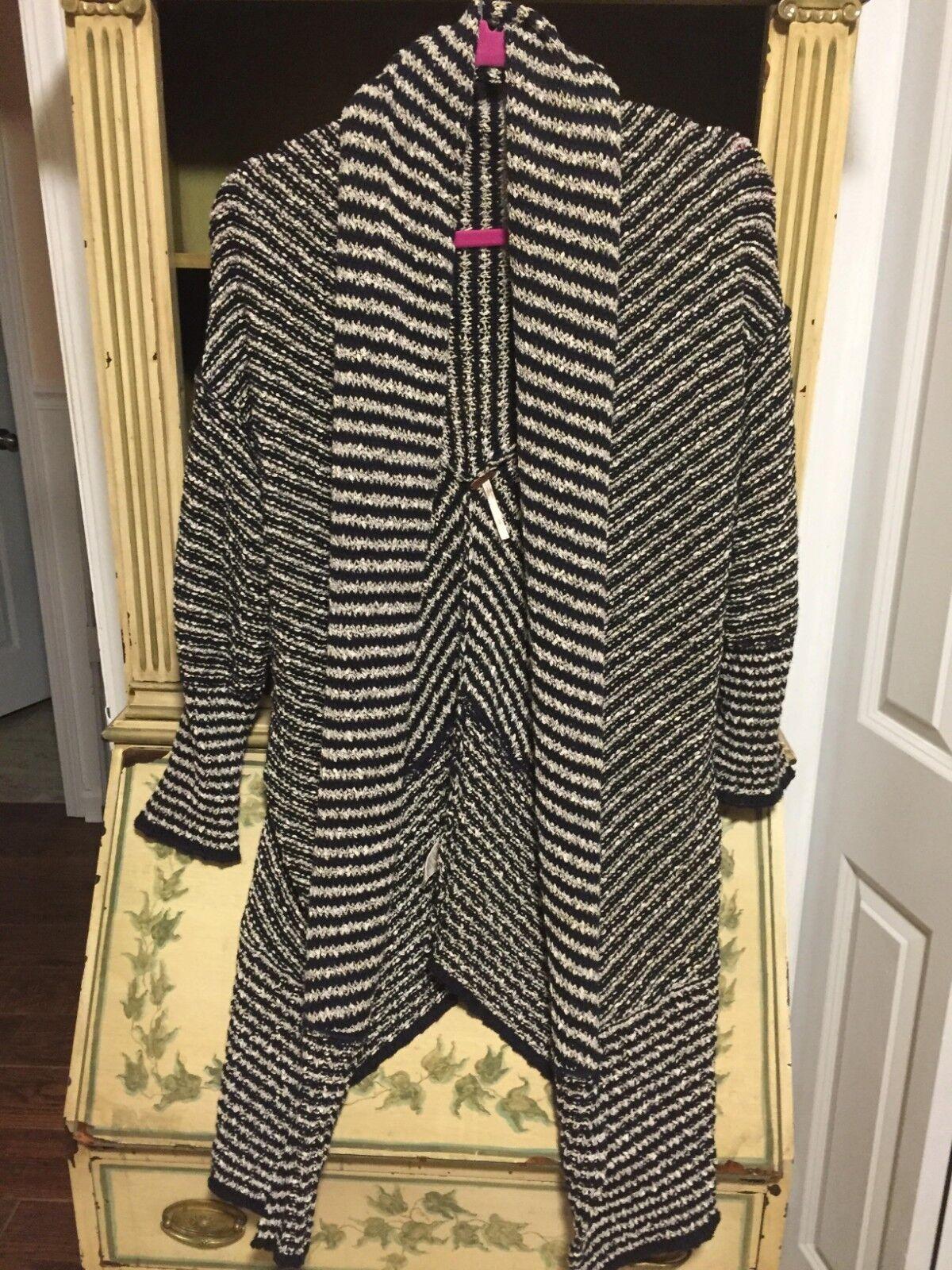 SALEFree People Sweater KNIT KNIT KNIT Cardigan stripe navy Shawl Collar TUNIC 3 4 sleeve a417e6