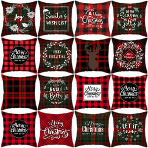 Merry-Christmas-Snowflake-Deer-Plaid-Geometric-Pillow-Case-Cushion-Cover-Welcome