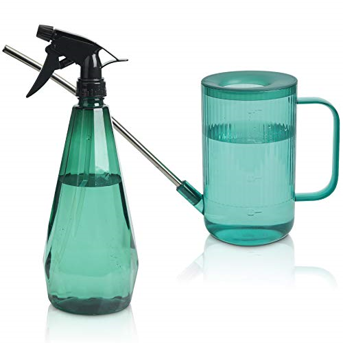 T4U 1L Watering Can Long Spout Plastic, Stainless Steel Spout Water Can with for