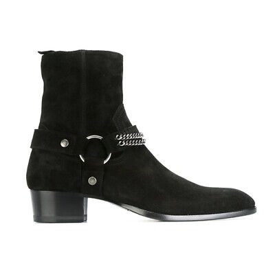 Chic Mens Side Zip Genuine Leather Suede Buckle Knight Ankle Boot Chelsea Shoes