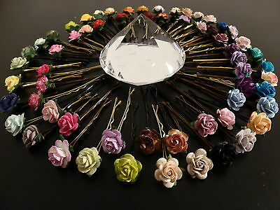 6 ROSE HAIR GRIPS ACCESSORIES WEDDING BRIDESMAID VINTAGE BOHO FLOWER GIRL