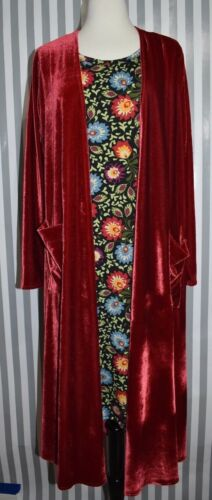 Sweater Sarah Ny Long Bright Red Duster Lularoe Velvet Sz Cardigan Unicorn L wpqHa8I