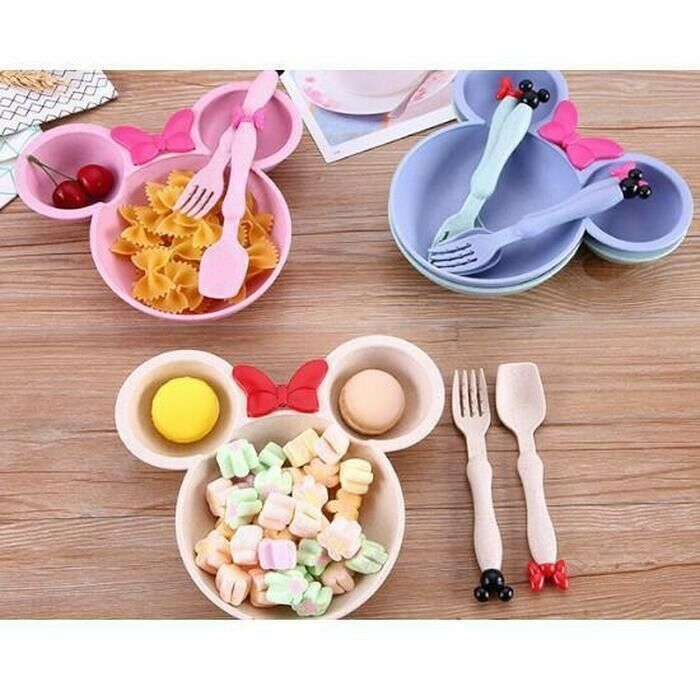 Minnie Mickey Mouse Kids Plate And Cutlery Set