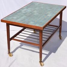 MODERN DANISH DESIGN - TEAK ROLLING TABLE with TILES - Wegner Era