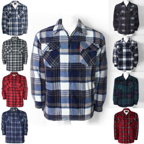 Homme Polaire Sherpa Lumber Jack shirts épais Rembourré Doublé Travail Chaud Hiver Tops