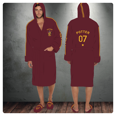 Harry Potter Quidditch 07 Mens Hooded Bath Robe Dressing Night Gown Slippers