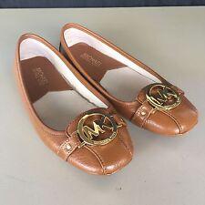 Michael Kors Size 6M Fulton Ballet Flats Brown Tan Leather Shoes MK Logo Slip On