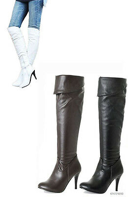 New Women's Zipper Faux Leather High Heel Knee High Boots Shoes AU ALL Size Y062