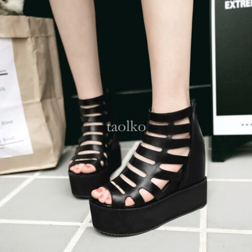 Womens wedge heels platform hollow out back zippers Summer casual Sandals shoes