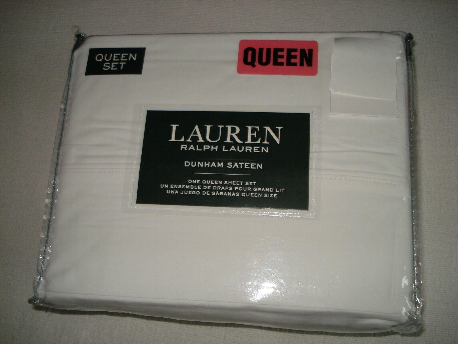 Ralph Lauren Dunham Sateen Weiß  4-pc QUEEN XDeep Sheet Set (UP TO 18 )